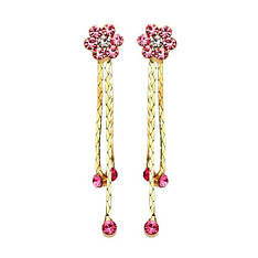 Женские длинные висячие серьги с розовыми камнями позолота