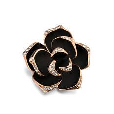 """Жіноча брошка """"Чорна троянда"""" позолота"""