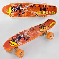 Скейт Penny board Р 13222 с принтом колеса світяться дека 55 см