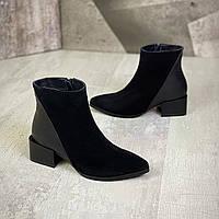 Женские замшевые демисезонные ботинки на мини каблуке 36-40 р чёрный, фото 1