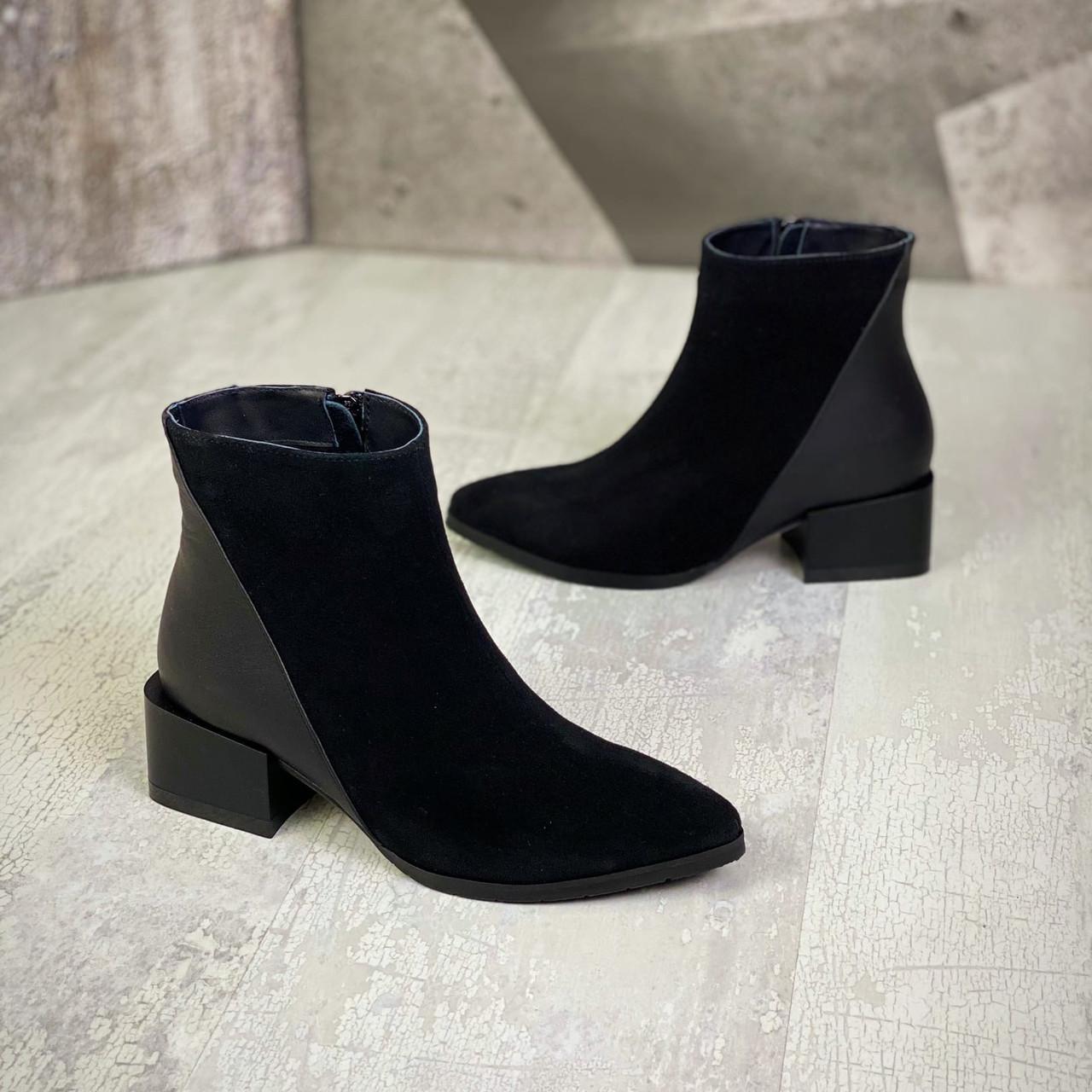 Женские замшевые демисезонные ботинки на мини каблуке 36-40 р чёрный