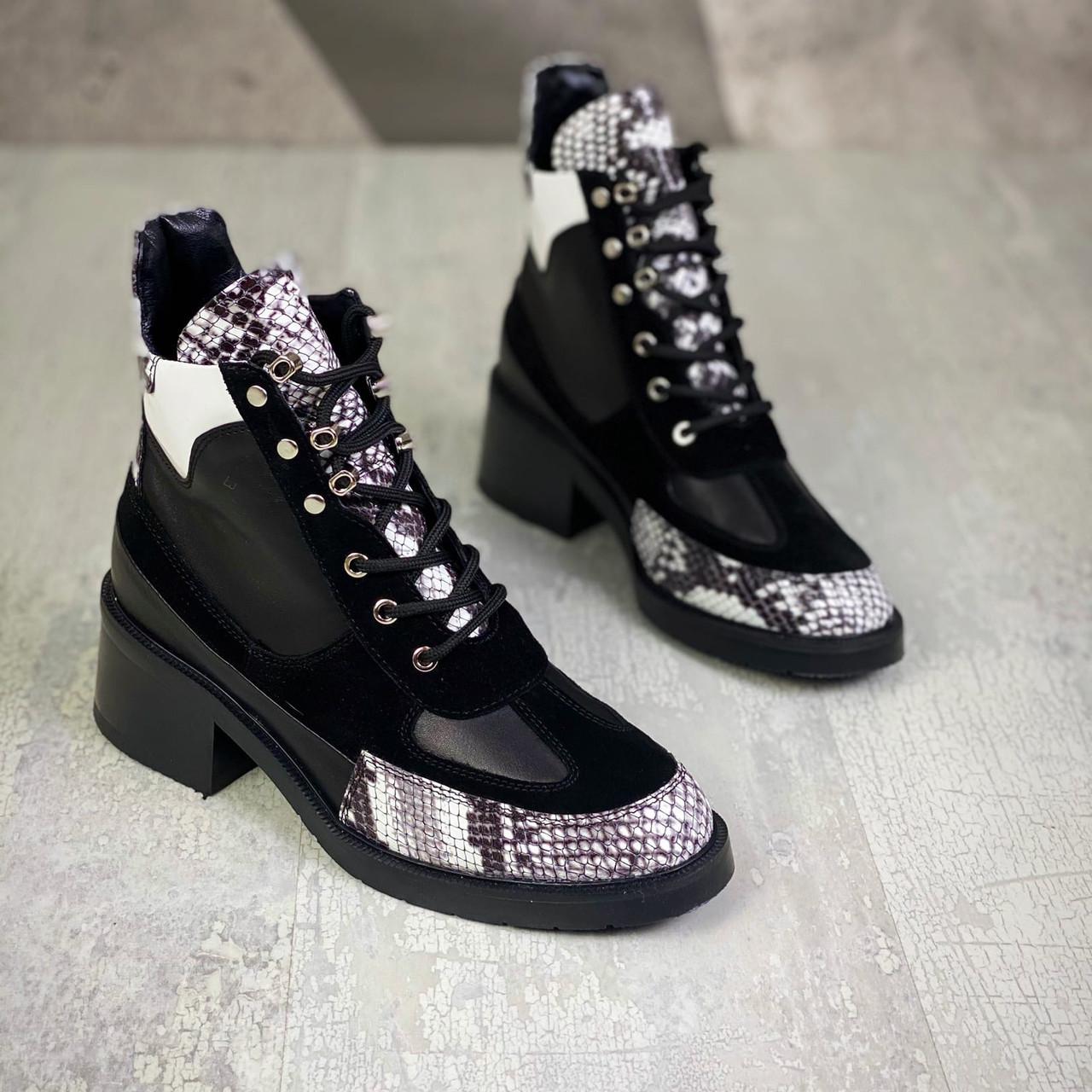 Женские демисезонные ботинки кожа+замша 36-40 р чёрный+рептилия