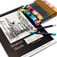 Набор для скетчей, Скетчбук для рисования А3 на 30 листов + большой набор акварельных маркеров с мягкой кистью