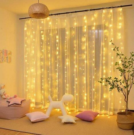Світлодіодна штора-водоспад,прозорий шнур, 3*2 м, 280 LED, золото, з перехідником, фото 2