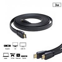 Кабель HDMI v1.4, 4K UHD плоский, 3 м Чорний, фото 1