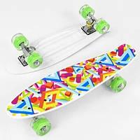 Скейт Penny board Р 10765 с принтом колеса світяться дека 55 см