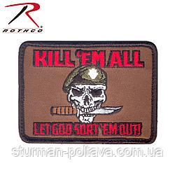 Нашивка велкро Kill Em All Let God Sort Em Out Morale Patch - Убий їх всіх 9 см х 6,5 див. Rotcho США
