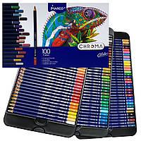 Карандаши цветные MARCO CHROMA 100 цветов в металлическом пенале