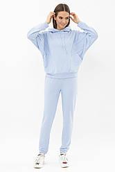 Жіночий спортивний прогулянковий костюм з капюшоном блакитний