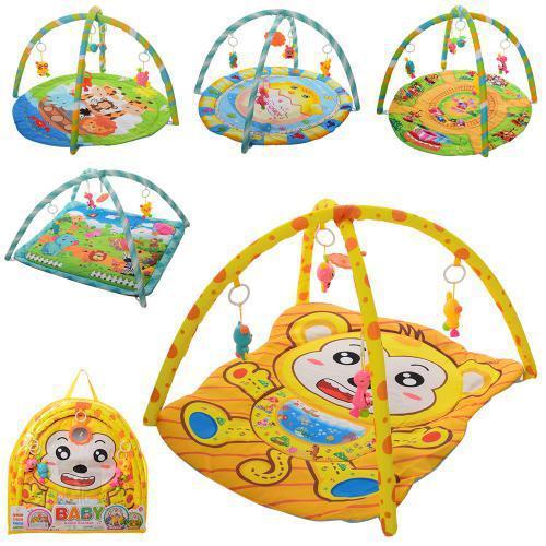 Коврик детский 851-2-5-7-74-83 79-64см, дуга 2шт, подвески-5шт, в сумке, 62-59-3см