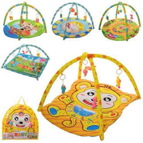 Коврик детский 851-2-5-7-74-83 79-64см, дуга 2шт, подвески-5шт, в сумке, 62-59-3см, фото 2