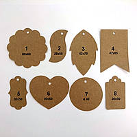 Декор, бірки з екокрафт картона, крафт етикетки, фото 1