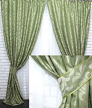 """Комплект (2шт. 1,5х2,5м) готових штор з тканини льон колекція """"Вензель"""". Колір зелений. Код 537ш 39-040"""