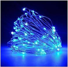 Гирлянда светодиодная нить 10 м 100 led (синяя) Blue от сети 220В #26