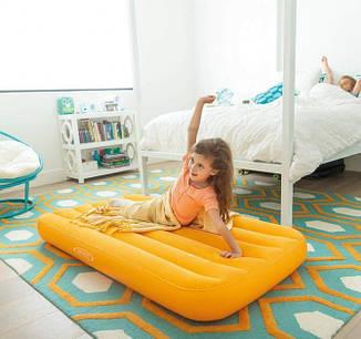 Одноместный надувной матрас Intex 66803 с велюровым покрытием 88х157х18 см (оранжевый), фото 2