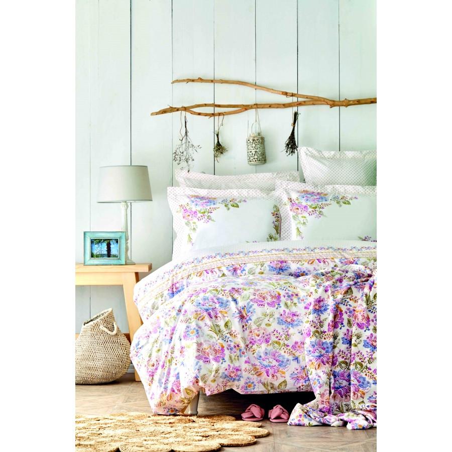 Набор постельное белье с покрывалом пике Karaca Home - Camden pembe розовый евро