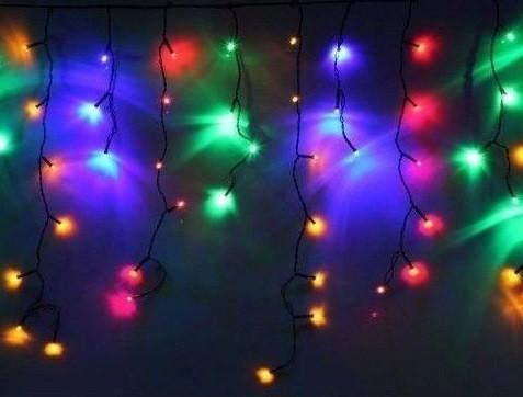 Гирлянда бахрома цветная 3*0,42 м, 120 LED  с переходником