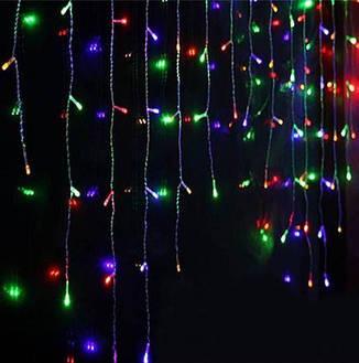 Гирлянда бахрома цветная 3*0,42 м, 120 LED  с переходником, фото 2