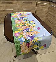 Льняная пасхальная дорожка на стол размер  140*47, фото 1