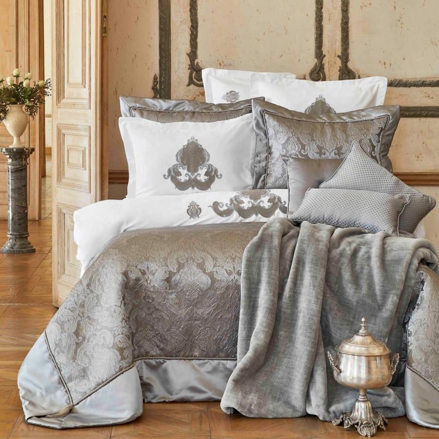 Набор постельное белье с покрывалом Karaca Home - Cornelia antrasit антрацит евро (6)