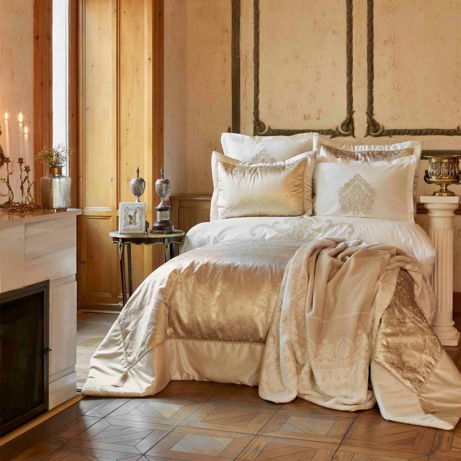 Набор постельное белье с покрывалом + плед Karaca Home - Ofelia gold золотой евро (10)