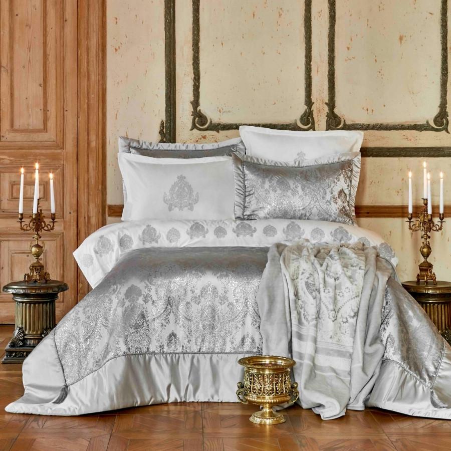 Набір постільна білизна з покривалом + плед Karaca Home - Ilona silver срібло євро (10)