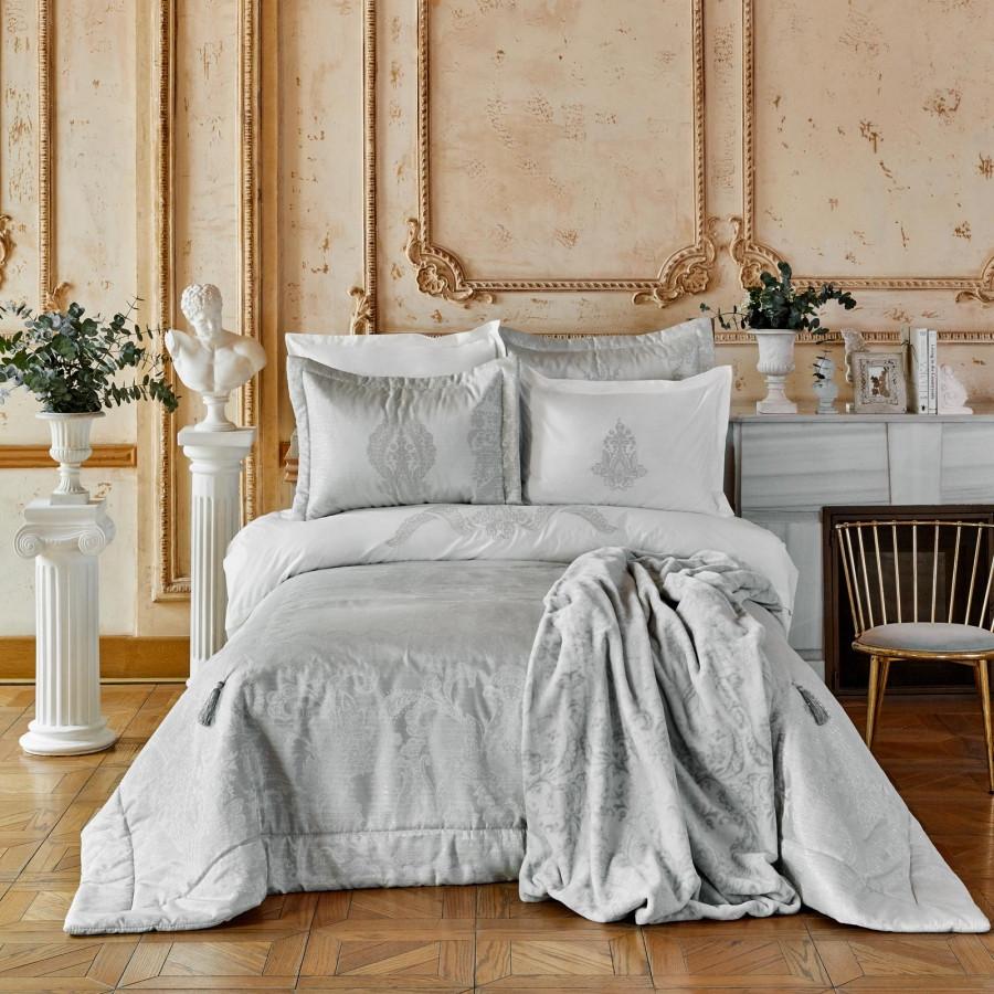 Набор постельное белье с покрывалом + плед Karaca Home - Adrila silver серебро евро (10)