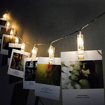 Світлодіодна гірлянда LTL з прищіпками для фото 20 led Warm White довжина 3,0 метра на батарейках 2 шт AA, фото 2