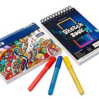 Набор для рисования, Цветные акриловые маркеры 12 штук для скетчей, эскизов + скетчбук на 50 листов А5