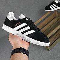 Женские кроссовки Adidas gazelle кеды черные с белым замшевые весна-осень демисезонные. Живое фото. Реплика