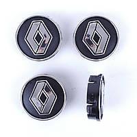 "Колпачки на титаны ""Renault"" (60/55мм) черн/хром. пластик объемный логотип (4шт)"