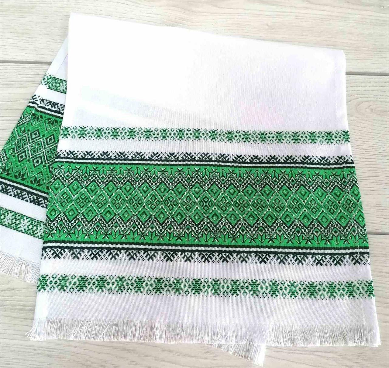 Тканый льняной рушник Волинські візерунки с зеленым орнаментом 68 см