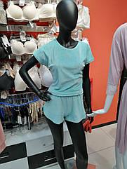 Піжама жіноча футболка та шорти колір м'ясного ята, м'яка м'який плюш. Туреччина Розмір: S. М.