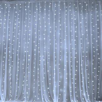 Светодиодная гирлянда штора 3*3 метра 300 led 220 белое свечение статический свет, фото 2