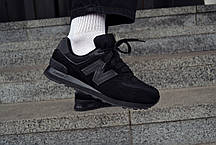 Кроссовки мужские New Balance 574 Нью Беланс 574 Triple Black  Реплика, фото 3