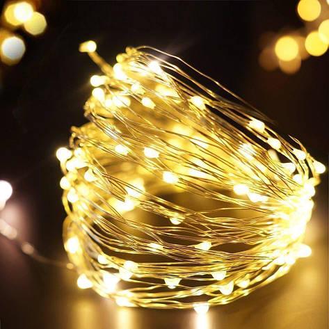 """Гірлянда """"Роса"""" на батарейках, золото, 100 led, фото 2"""