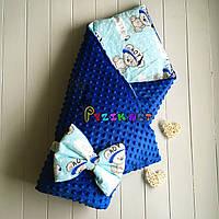Конверт-одеяло минки на синтепоне синий Тедди