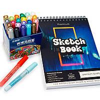Набор для рисования, акриловые маркеры 24 цвета на водной основе + скетчбук для рисования на 50 листов А4