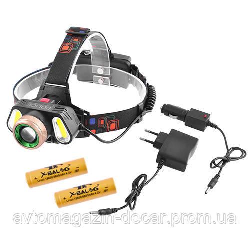 "Фонарик-лоб ""POLICE"" RJ-5300-T6+2COB, ЗУ 220V/12V, 2х18650, signal light, zoom"