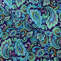 Бавовняна фланель з зелено-бірюзовими огірками на фіолетовому фоні, ширина 150 см, фото 1