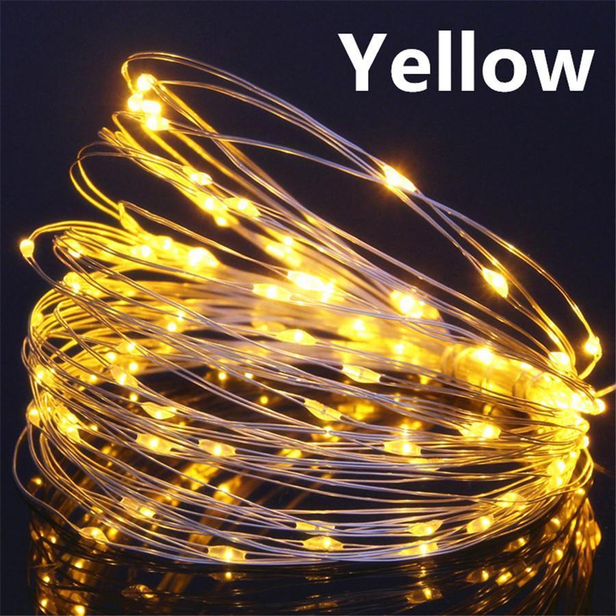 Светодиодная гирлянда нить, проволка, на батарейках 10 м., Yellow, желтый