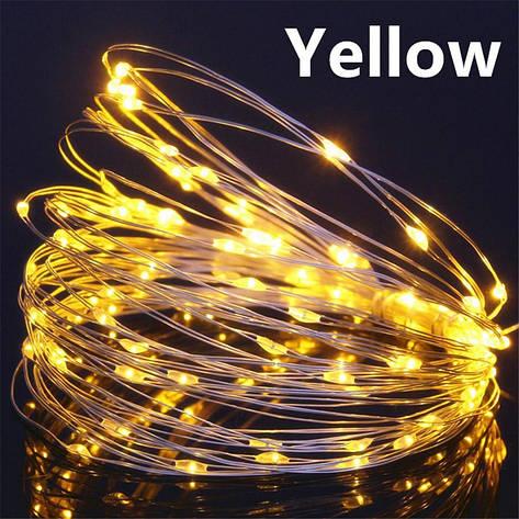 Светодиодная гирлянда нить, проволка, на батарейках 10 м., Yellow, желтый, фото 2
