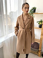 Качественное кашемировое демисезонное пальто с поясом