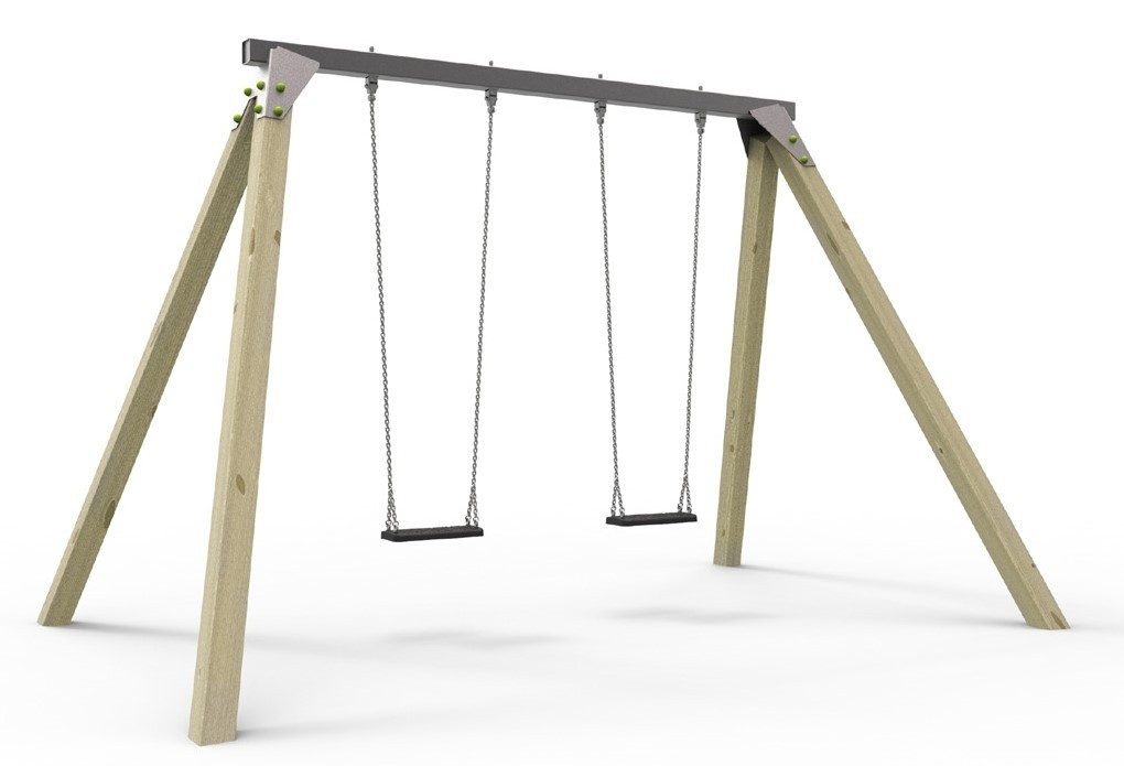 Конструкція Дитячі гойдалки з 2 сидіннями на ланцюгах
