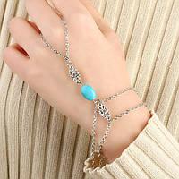 Серебряное украшение на руку Слейв браслет с бирюзовым камнем в стиле бохо №5