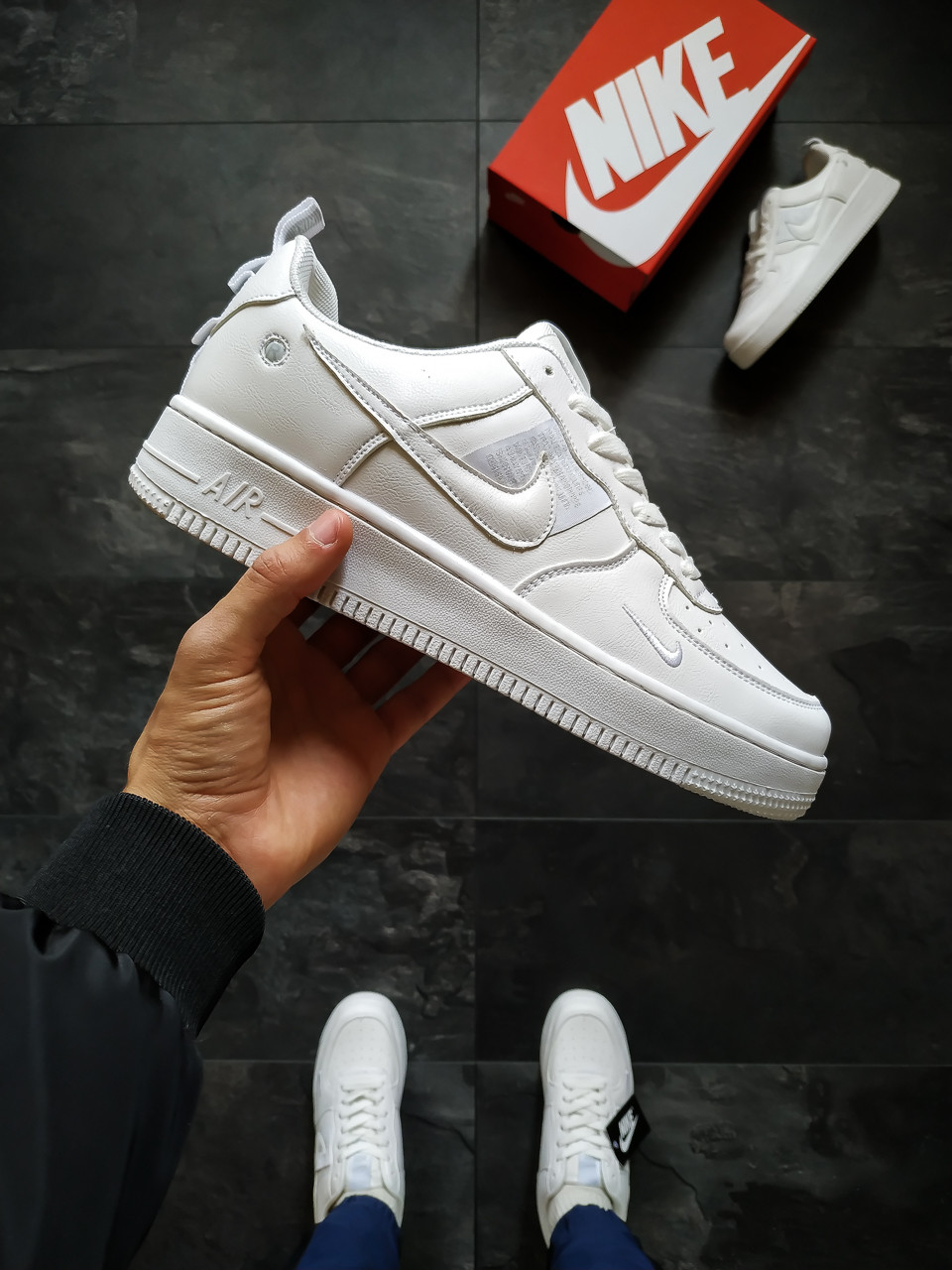 Мужские кроссовки Nike Air Force белые 44 размер
