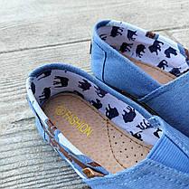 Джинсові сліпони мокасини жіночі сині блакитні тканинні літні легкі, фото 3