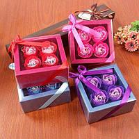 Подарочный набор цветочного мыла Rose Garden из 4 роз для девушек и женщин в коробке с бантиком