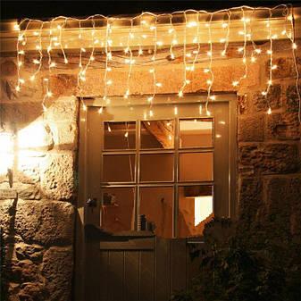 Гірлянда бахрома 3*0,42 м, прозорий шнур,100 LED, золото, з перехідником, фото 2