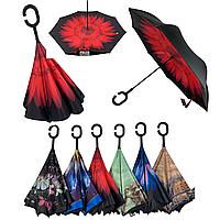 Женский зонт-полуавтомат / антизонт обратного сложения Feeling Rain, OS-05B